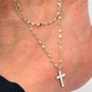 Gold over Sterling Rosary Cross Choker Necklace